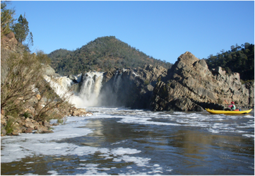 The renown but rarely seen Snowy Falls, in the Byadbo Wilderness section of the Snowy River - 5 day inflatable sports raft trip with Alpine River Adventures