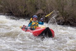Having fun paddling the Snowy River, guided by Alpine River Adventures