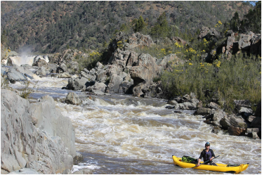 Paddling down below Snowy Falls, on the Byadbo Wilderness section of the Snowy River